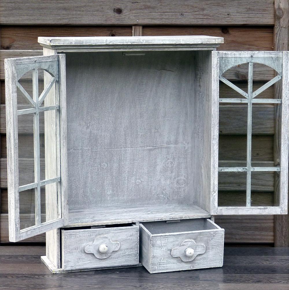 h ngeschrank wandschrank k chenschrank vitrine landhaus shabby chic hellgrau ebay. Black Bedroom Furniture Sets. Home Design Ideas