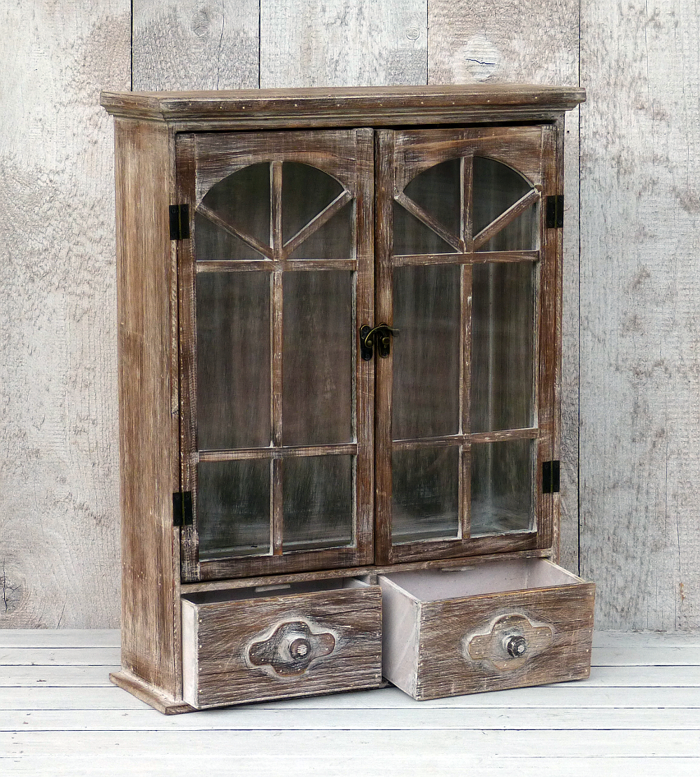 h ngeschrank wandschrank vitrine k chenschrank landhaus shabby chic braun ebay. Black Bedroom Furniture Sets. Home Design Ideas