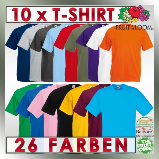 10 x T Shirts FRUIT OF THE LOOM Valueweight T S M L XL XXL XXXL 2XL 3XL T-Shirts
