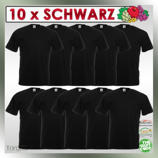 10 x schwarze T Shirts FRUIT OF THE LOOM S M L XL XXL XXXL T-Shirts black NEU