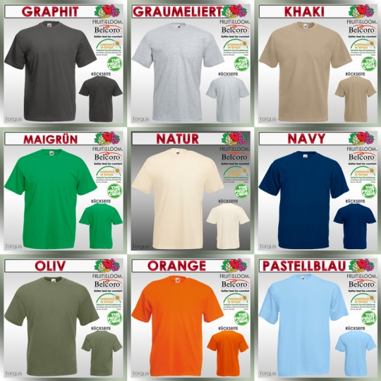 T Shirt FRUIT OF THE LOOM Valueweight T S M L XL XXL XXXL 3XL 2XL T-Shirts Neu