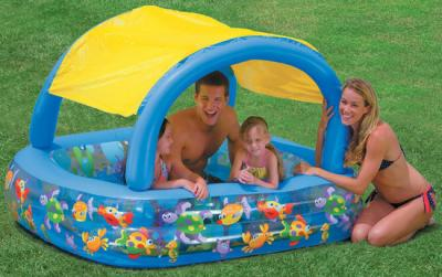 kinderpool planschbecken schwimmbecken mit dach neu ebay. Black Bedroom Furniture Sets. Home Design Ideas