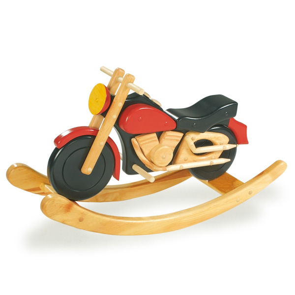Small foot rocking chopper motorcycle rocking horse wooden for Scooter rocking horse