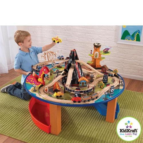 kidkraft jurassic eisenbahn set mit tisch 95tlg spieltisch. Black Bedroom Furniture Sets. Home Design Ideas
