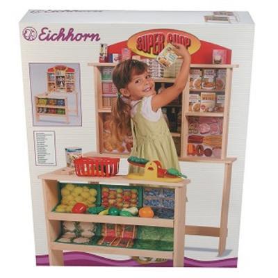 eichhorn kaufladen super shop holz 118x75cm kaufmannsladen kinder spielladen ebay. Black Bedroom Furniture Sets. Home Design Ideas