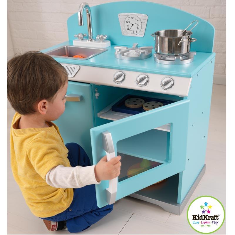 Kidkraft blaue retro kinderk che 66x68cm holzk che k che for Cuisine kinderkraft