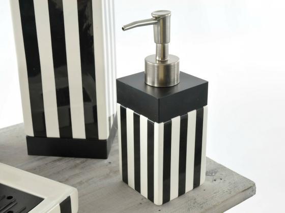 badset 5 tlg schwarz weiss gestreift keramik badezimmer seifenspender garnitur ebay. Black Bedroom Furniture Sets. Home Design Ideas