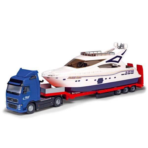 Dickie großer cm volvo lkw tieflader boot yacht