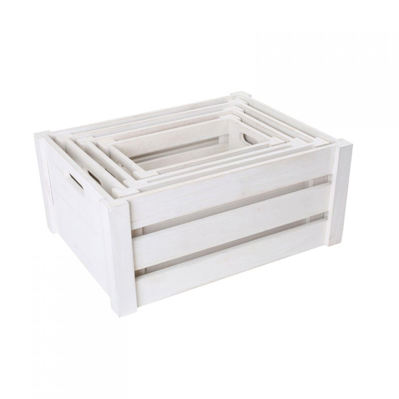 holzkiste wei 4er set ebay. Black Bedroom Furniture Sets. Home Design Ideas