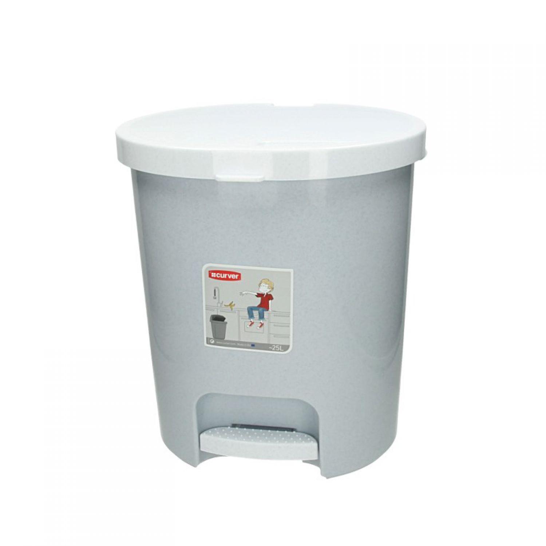 Curver poubelle avec p dale 25 l gris chin poubelle seau - Poubelle cuisine pedale ...
