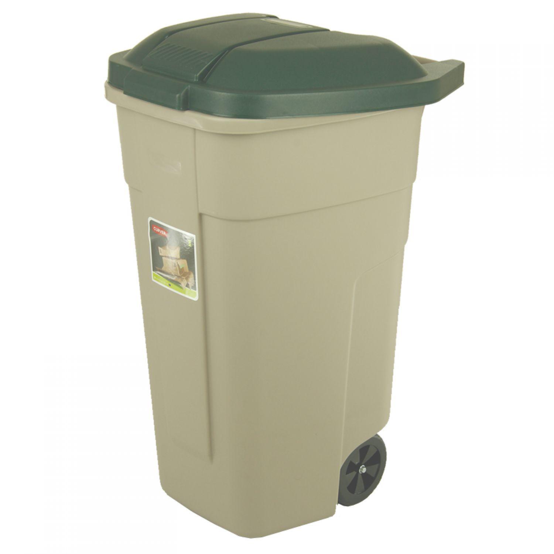 Curver poubelle 110 l gris clair vert poubelle seau for Poubelle cuisine verte