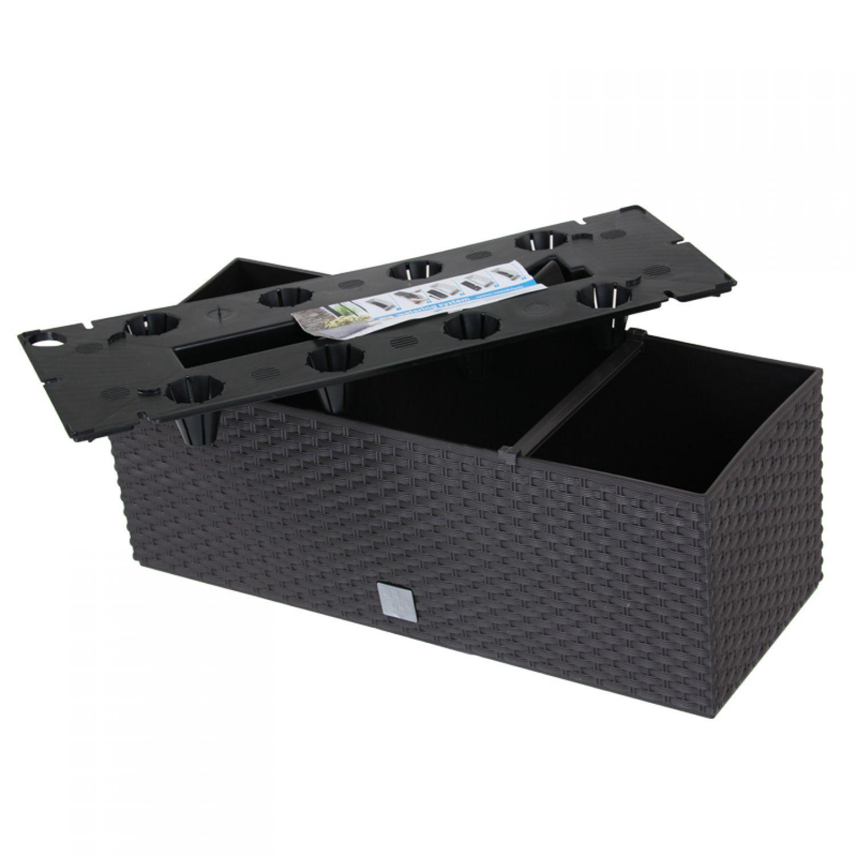 blumenkasten mit wasserspeicher 51cm braun balkonkasten pflanztopf blumenk bel 5905197796260 ebay. Black Bedroom Furniture Sets. Home Design Ideas