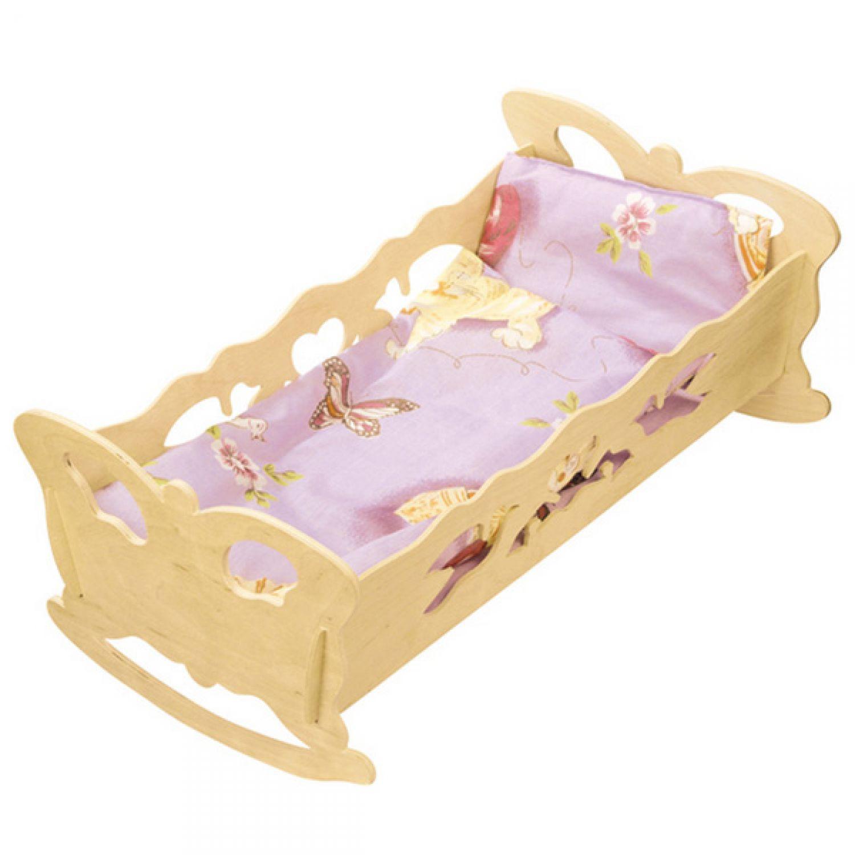 puppenwiege 47x28cm bettw sche puppenbett holzpuppenwiege holz puppe puppenm bel ebay. Black Bedroom Furniture Sets. Home Design Ideas