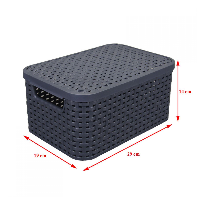 rattan korb s mit deckel 29x19cm box kiste k rbchen korb dekorationskorb deko ebay. Black Bedroom Furniture Sets. Home Design Ideas