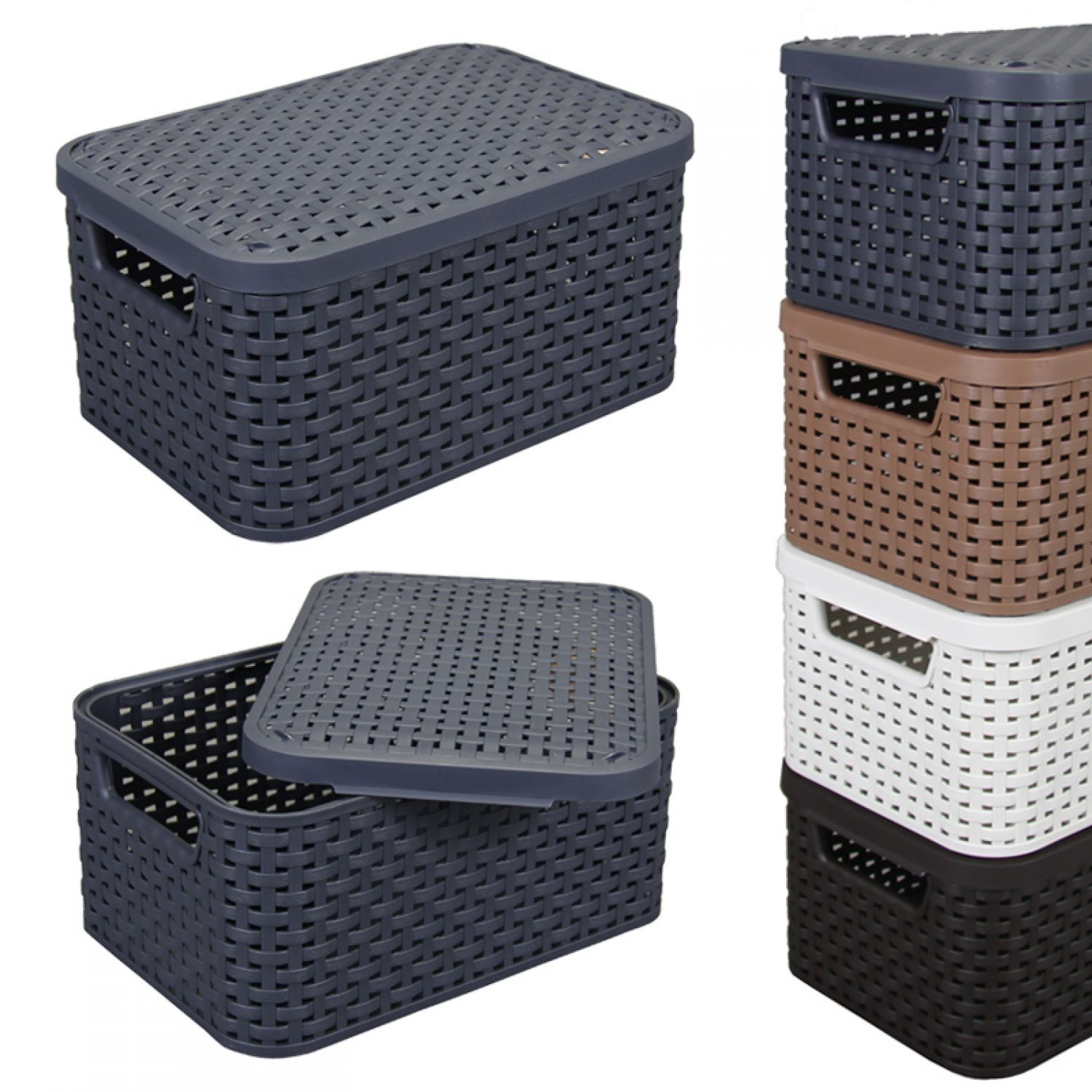 rattan korb s mit deckel 29x19cm kunststoff aufbewahrungsbox dekobox box kiste ebay. Black Bedroom Furniture Sets. Home Design Ideas