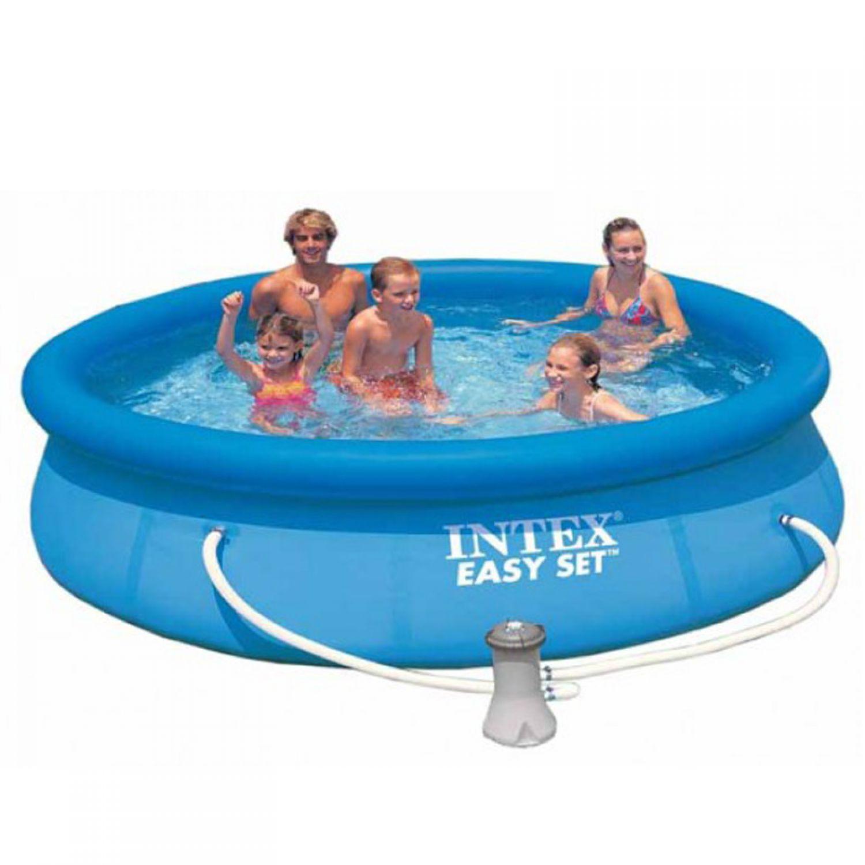 Intex swimming pool easy set 305x76cm badespa for Garten pool leeren