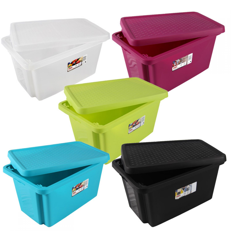 curver deko box aufbewahrungsbox mit deckel 45l versch farben spielzeugkiste ebay. Black Bedroom Furniture Sets. Home Design Ideas