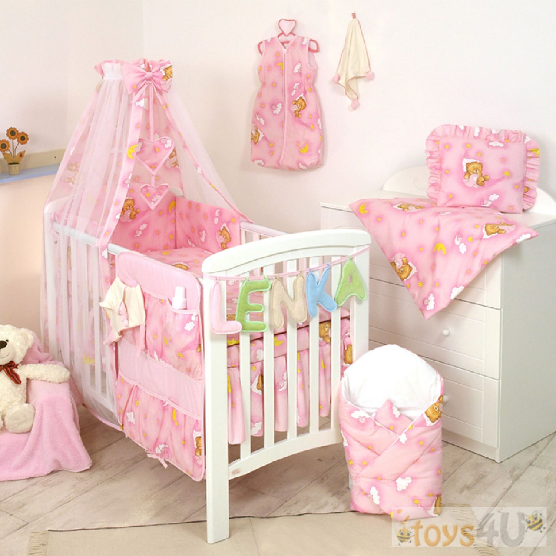 10tlg babybettw sche set 135x100cm f r bett 140x70cm pink. Black Bedroom Furniture Sets. Home Design Ideas