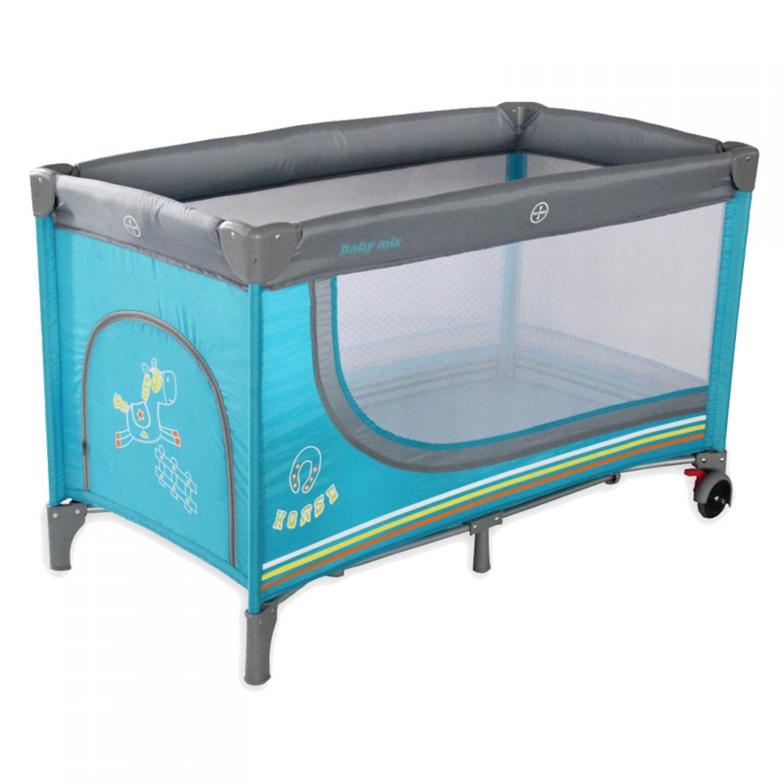 reisebett pferdchen blau 123x66x76cm baby kleinkind bett babyreisebett 5902216901674 ebay. Black Bedroom Furniture Sets. Home Design Ideas