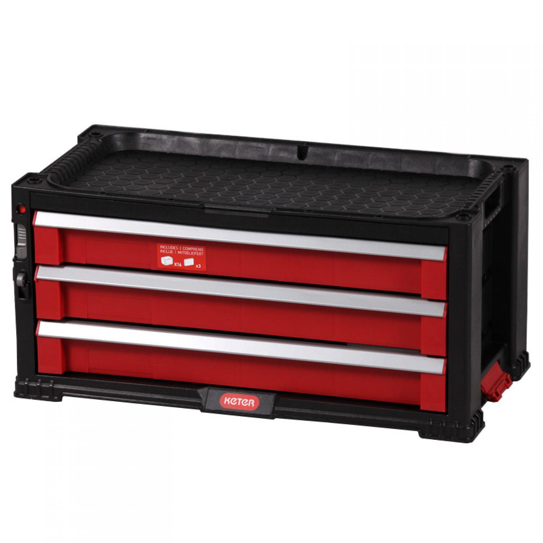 Keter Werkstattschrank mit 3 Schubladen 56x29x26cm Werkzeugregal ...
