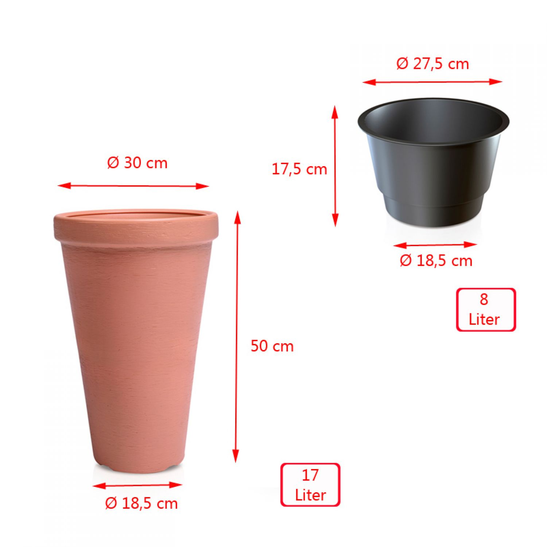 blumentopf bertopf 30cm mit einsatz farbe mocca. Black Bedroom Furniture Sets. Home Design Ideas