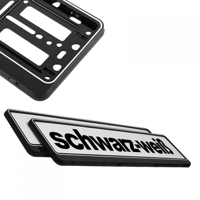 2x SCHWARZ WEIß Kennzeichenhalter Autokennzeichen Auto weiss ...