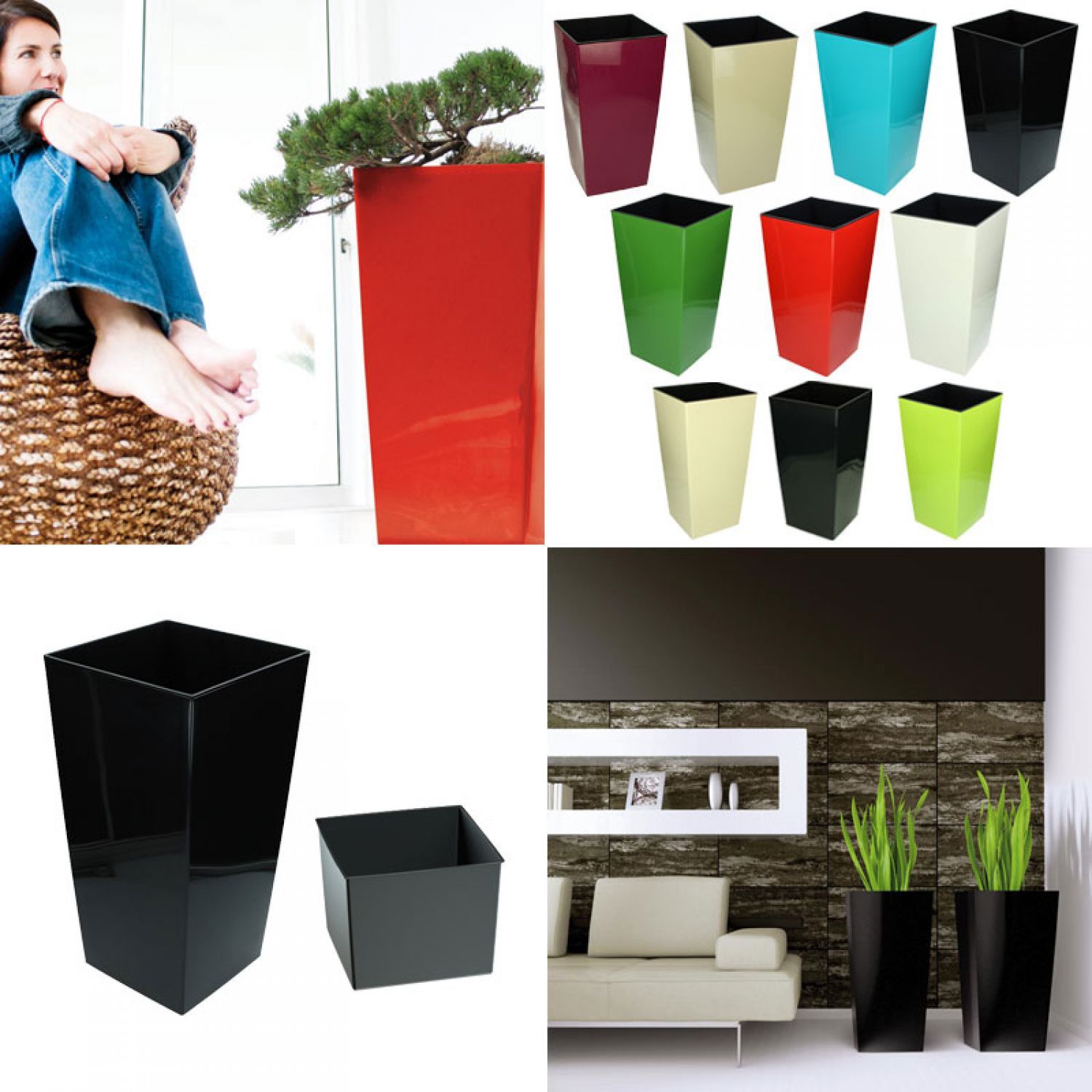 blumentopf mit einsatz urbi hochglanz bertopf. Black Bedroom Furniture Sets. Home Design Ideas