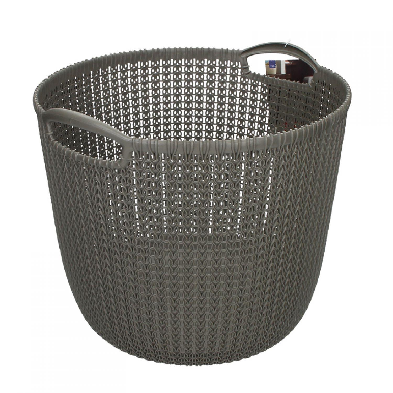 panier de rangement curver tricot rond 40x38x32cm gris fonc linge plastique ebay. Black Bedroom Furniture Sets. Home Design Ideas