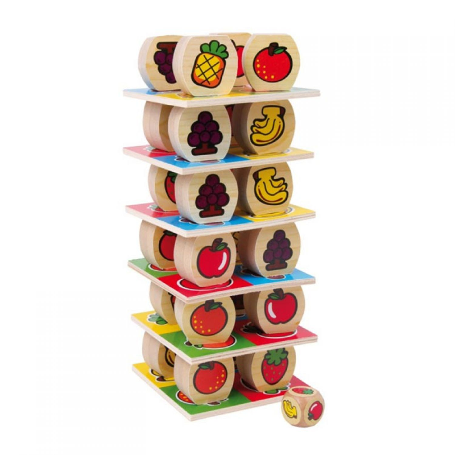 Fruit Tower Stacking Game Wood Wooden Toy Motor Skill Children s