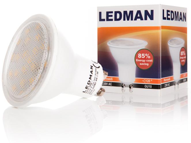 ledman gu10 led lampe 3 5 watt 300lm 25 smds 120 strahler spot leuchte ebay. Black Bedroom Furniture Sets. Home Design Ideas