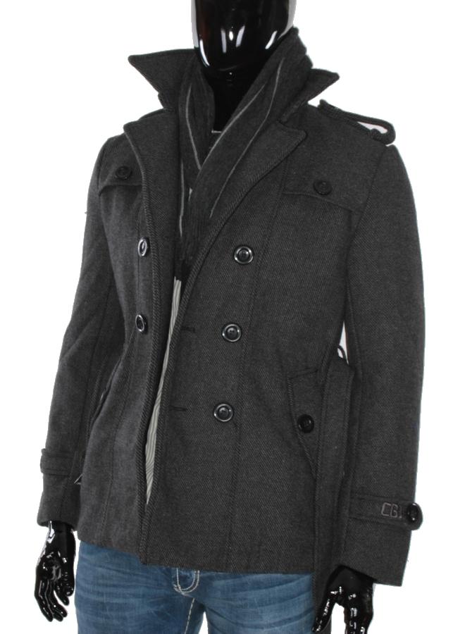 cipo baxx jacke c 7035 men kurzmantel herren winter mantel grau schwarz ebay. Black Bedroom Furniture Sets. Home Design Ideas