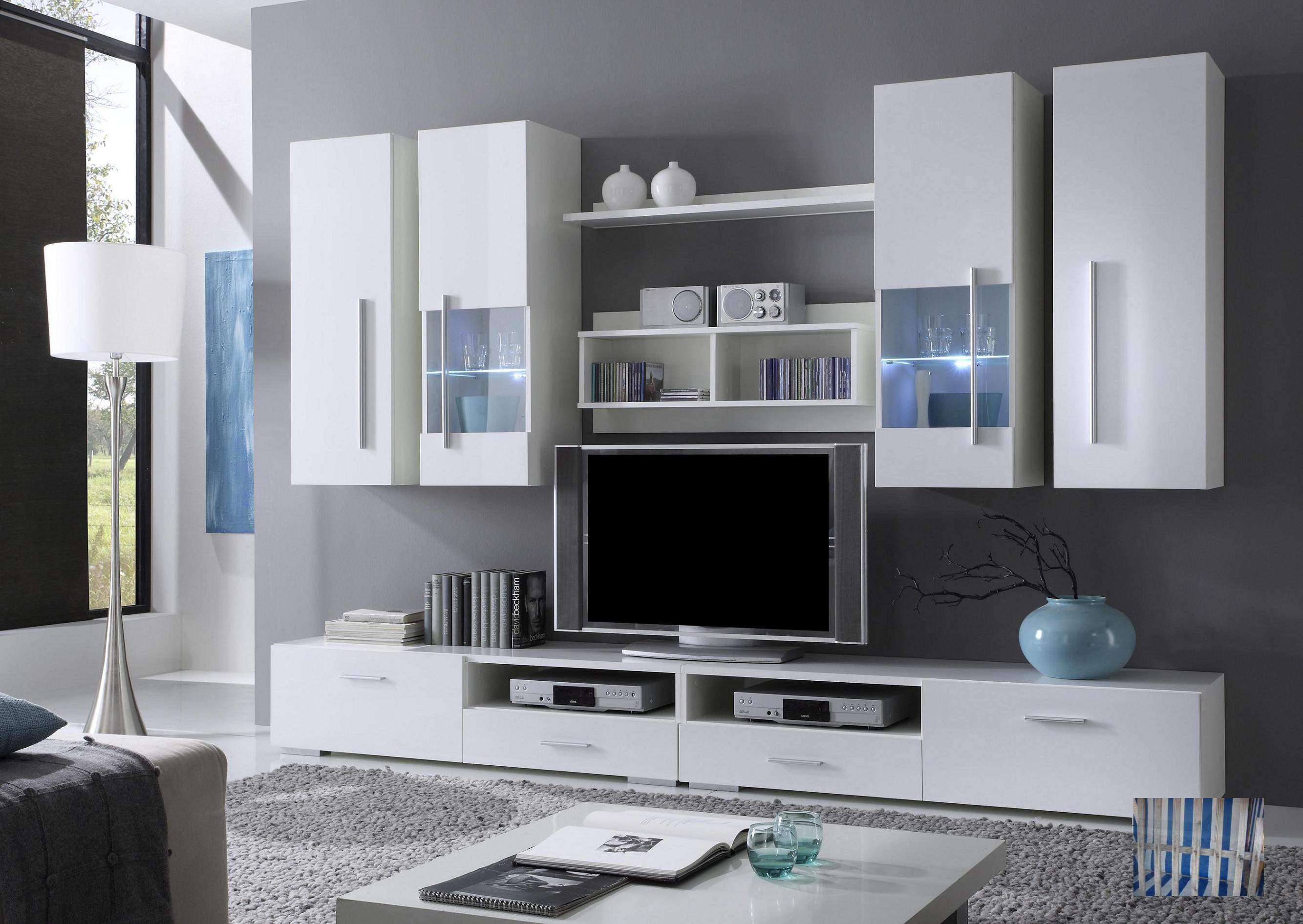 wohnzimmerz: moderne wohnzimmerwand with moderne wohnwand in weiss, Hause ideen