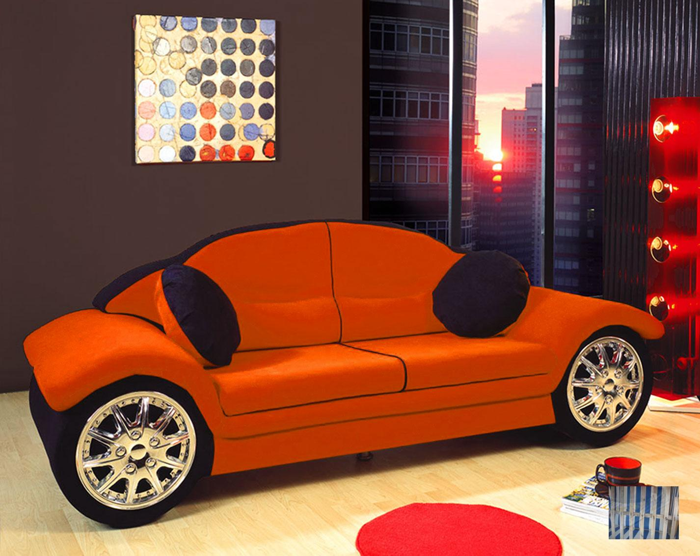 500 kindersofa jugendsofa auto 2 sitzer orange m ebay. Black Bedroom Furniture Sets. Home Design Ideas
