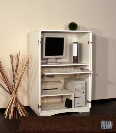 533 1 1 made in brd computerschrank pc schrank weiss hochglanz landhaus ebay. Black Bedroom Furniture Sets. Home Design Ideas