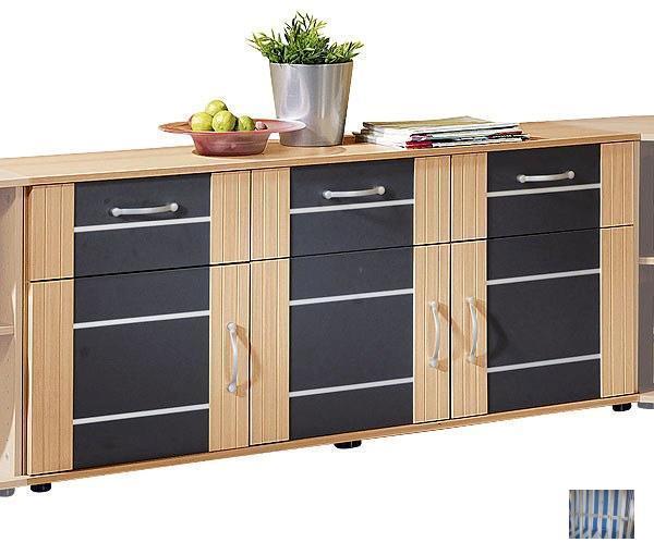 1124 made in brd sideboard anrichte kommode buche anth querstreifen ebay. Black Bedroom Furniture Sets. Home Design Ideas