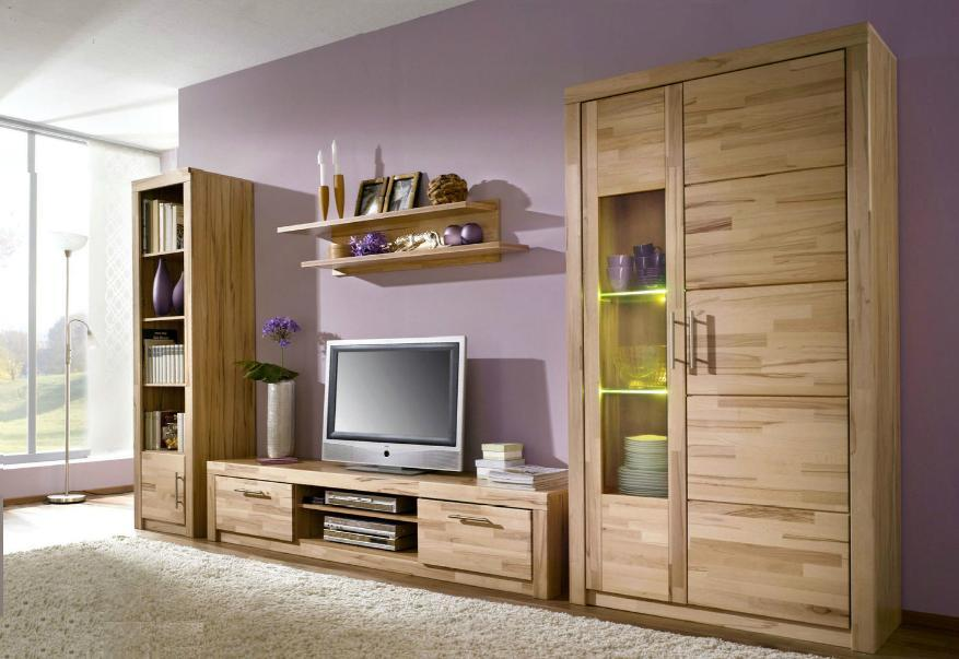 1411 made in brd sch ne wohnwand anbauwand tv schrank kernbuche ge lt ebay. Black Bedroom Furniture Sets. Home Design Ideas