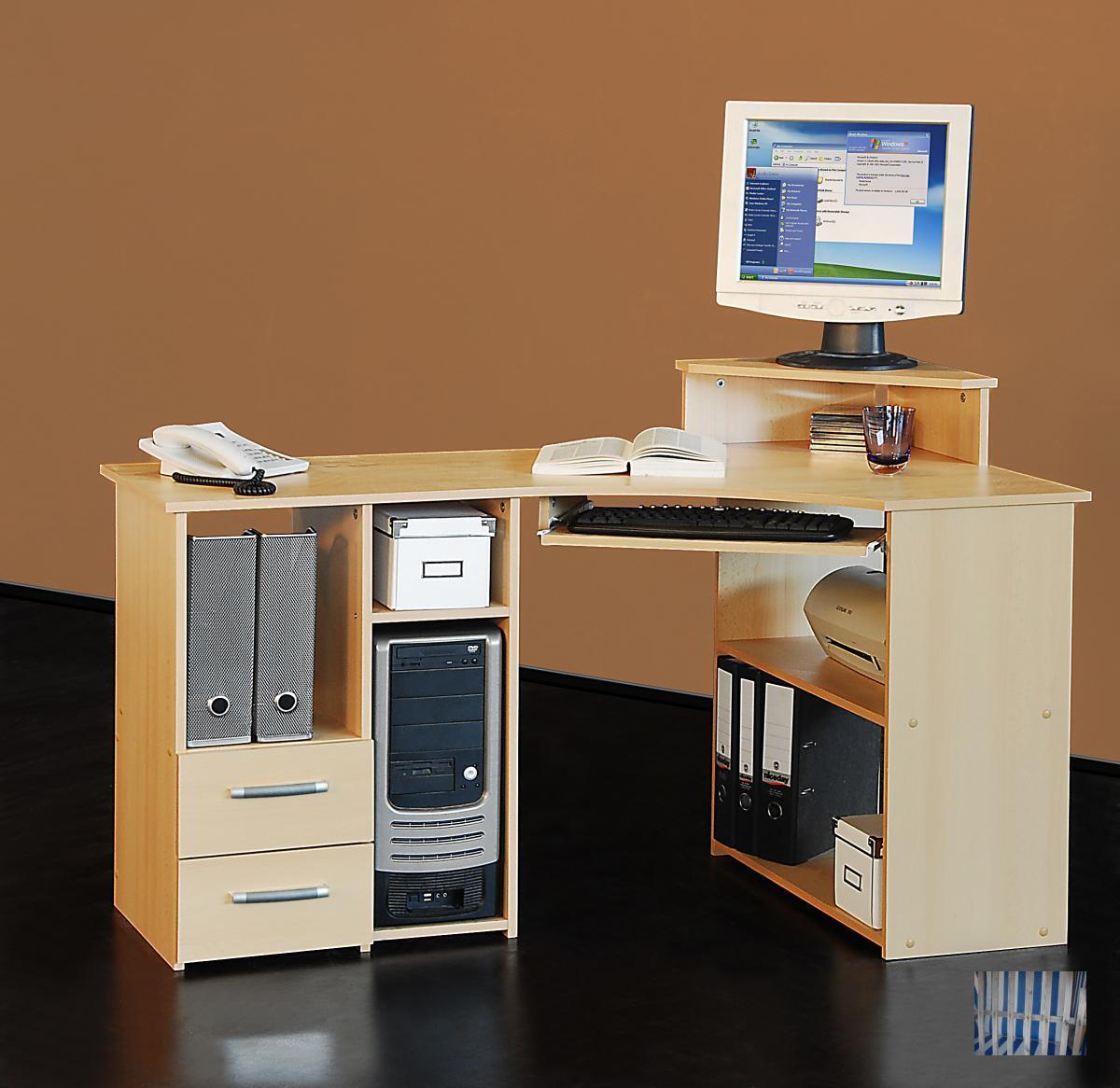 2 719 deutscher hersteller pc tisch computertisch for Schreibtischplatte buche