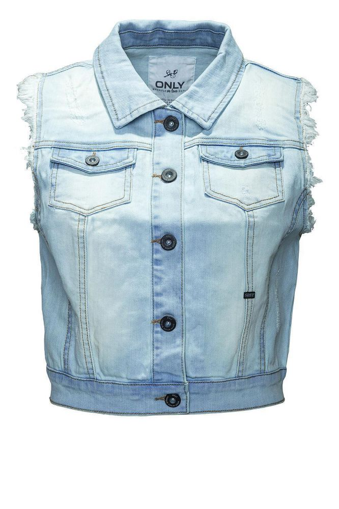 only damen jeansweste damenweste weste jeans destroy waistcoat blue denim ebay. Black Bedroom Furniture Sets. Home Design Ideas