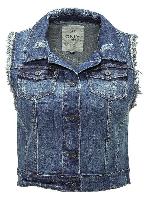 only damen jeans weste women destroy waistcoat dark blue denim blau 50 wow ebay. Black Bedroom Furniture Sets. Home Design Ideas