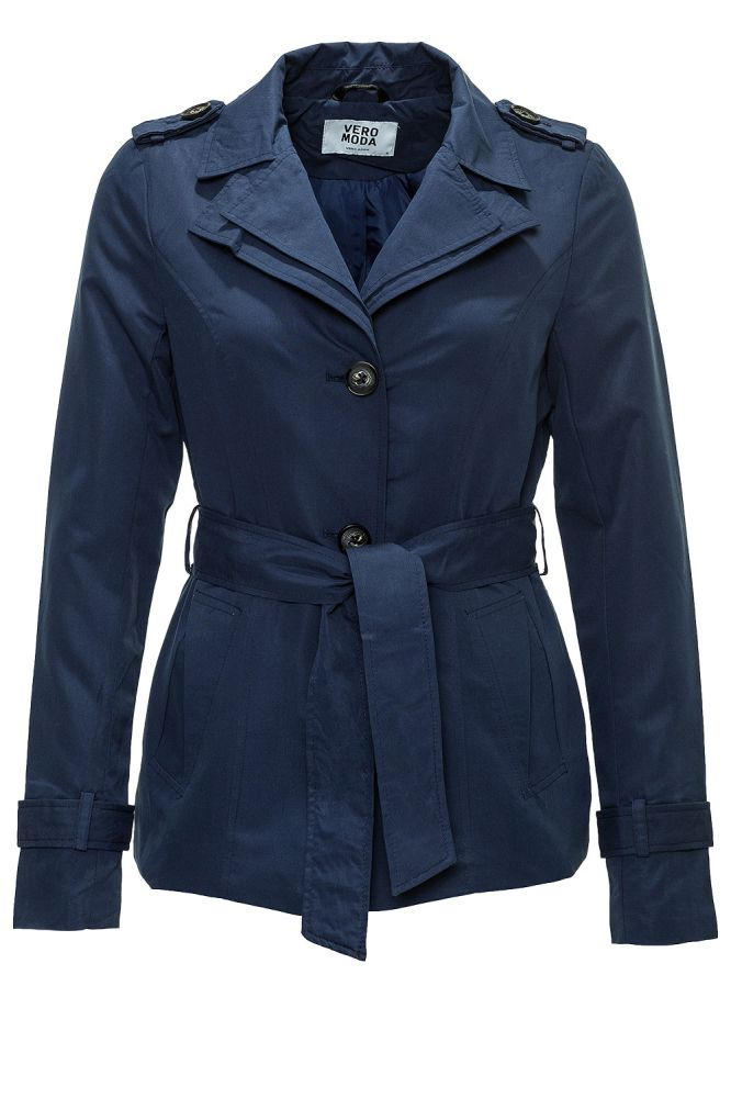 vero moda damen bergangsjacke trenchcoat kurzmantel business blau navy sale ebay. Black Bedroom Furniture Sets. Home Design Ideas