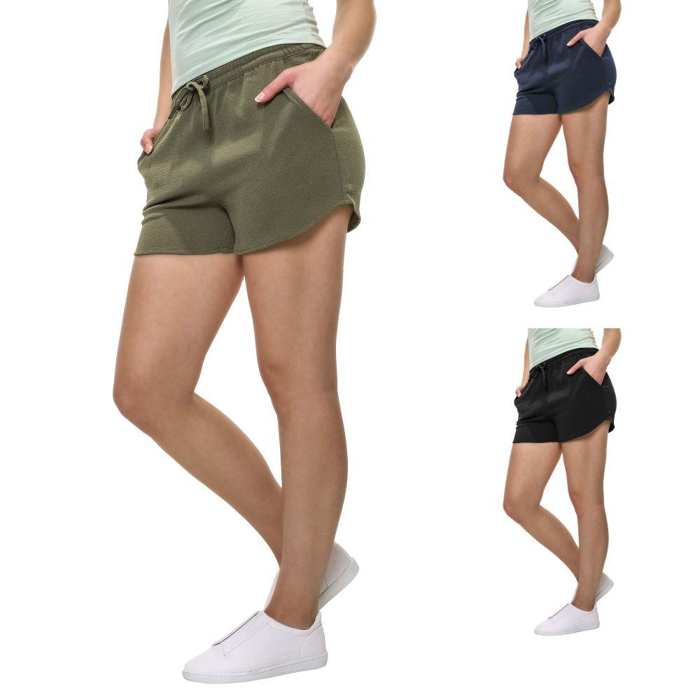only damen sommer shorts bermudas comfort fit stretch damenhose color mix neu ebay. Black Bedroom Furniture Sets. Home Design Ideas