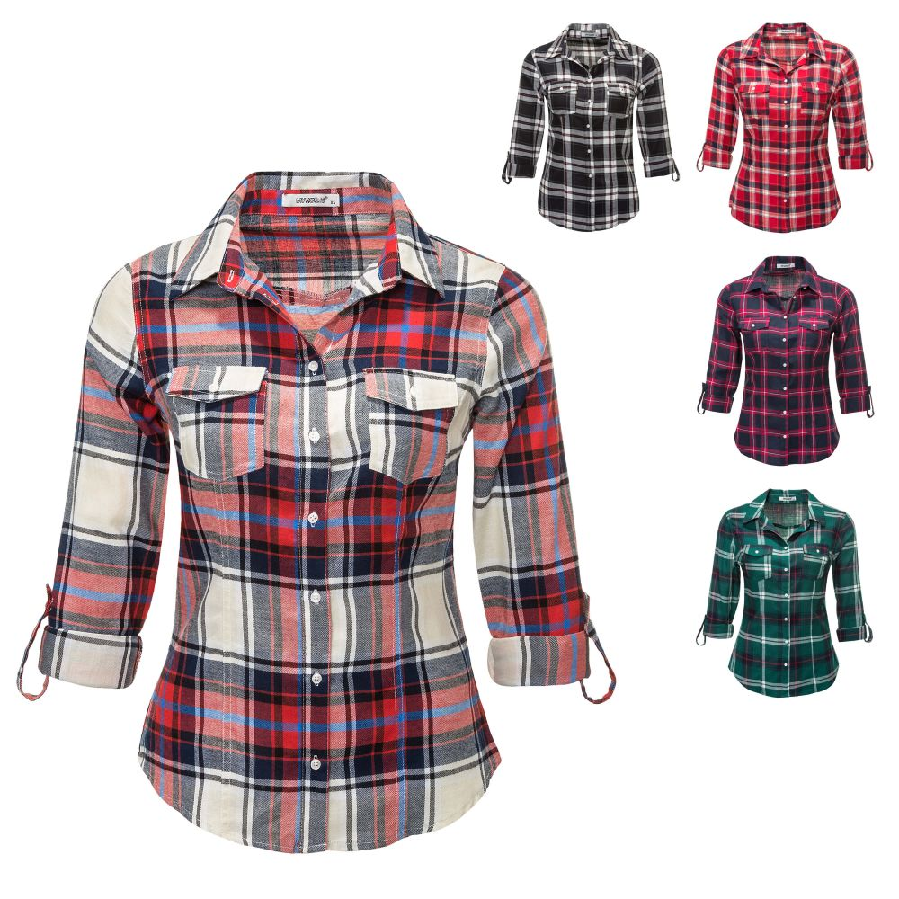 hailys damen langarmbluse karierte bluse hemd flanellbluse v neck langarm shirt ebay. Black Bedroom Furniture Sets. Home Design Ideas