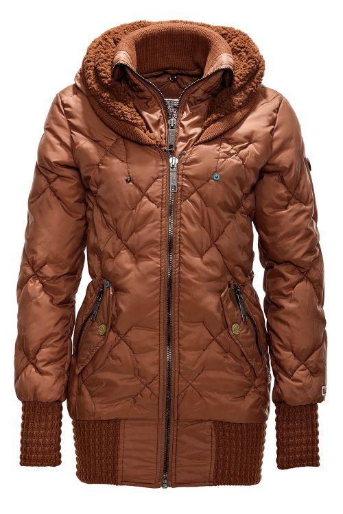 neu khujo damen winterjacke steppjacke women coat jacket orange brown 55 sale ebay. Black Bedroom Furniture Sets. Home Design Ideas