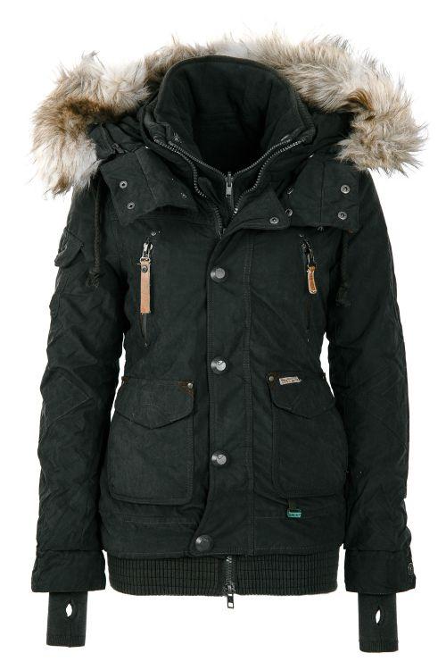 neu khujo damen winterjacke women jacket coat kapuze pelzkragen wow 45 sale ebay. Black Bedroom Furniture Sets. Home Design Ideas