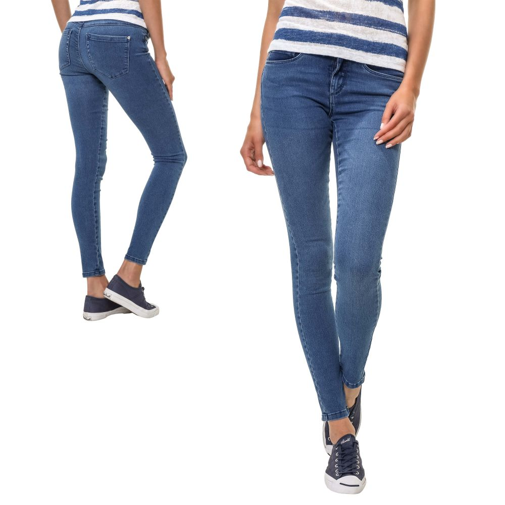 only damen damen skinny jeans r hrenjeans damenjeans stretch hose denim blue ebay. Black Bedroom Furniture Sets. Home Design Ideas