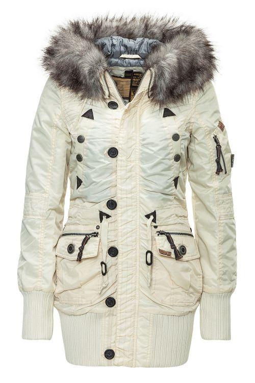 neu khujo damenparka winterjacke parka kapuze pelz jacke mantel beige wow 32 ebay. Black Bedroom Furniture Sets. Home Design Ideas