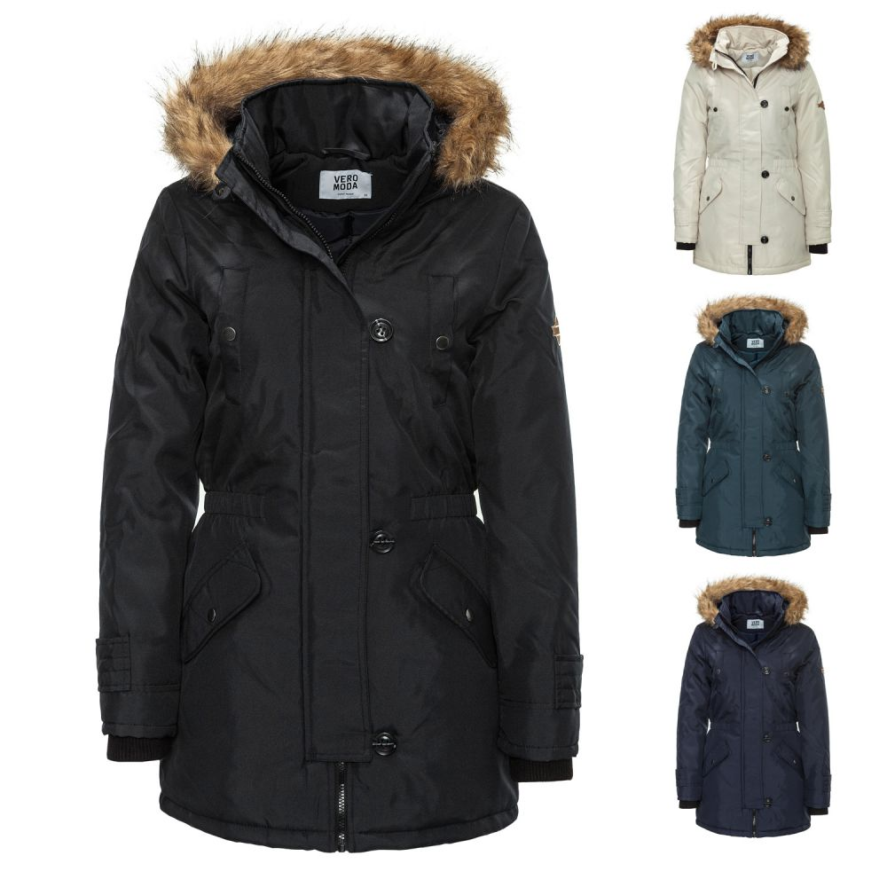 neu vero moda damen parka winterjacke wintermantel jacke. Black Bedroom Furniture Sets. Home Design Ideas