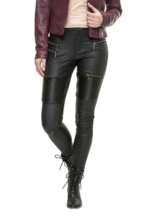 only damen skinny jeans lederhose stretch hose r hre leggings biker zip coated ebay. Black Bedroom Furniture Sets. Home Design Ideas