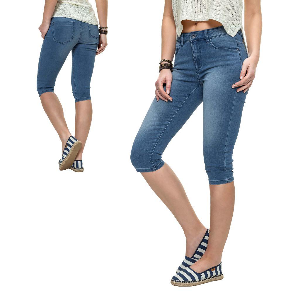 only damen stretch capri jeans bermuda shorts kurze hose caprihose sommerhose. Black Bedroom Furniture Sets. Home Design Ideas