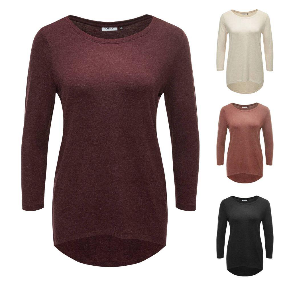 neu only damen langarmshirt longsleeve basic t shirt shirt. Black Bedroom Furniture Sets. Home Design Ideas